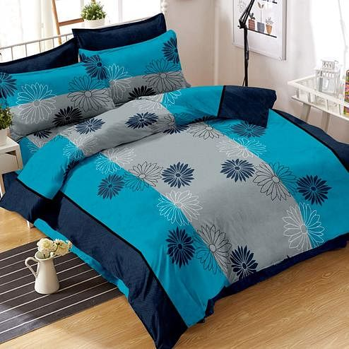 Glowing Blue Colored Floral Printed Cotton Double Bedsheet With Pillow Cover