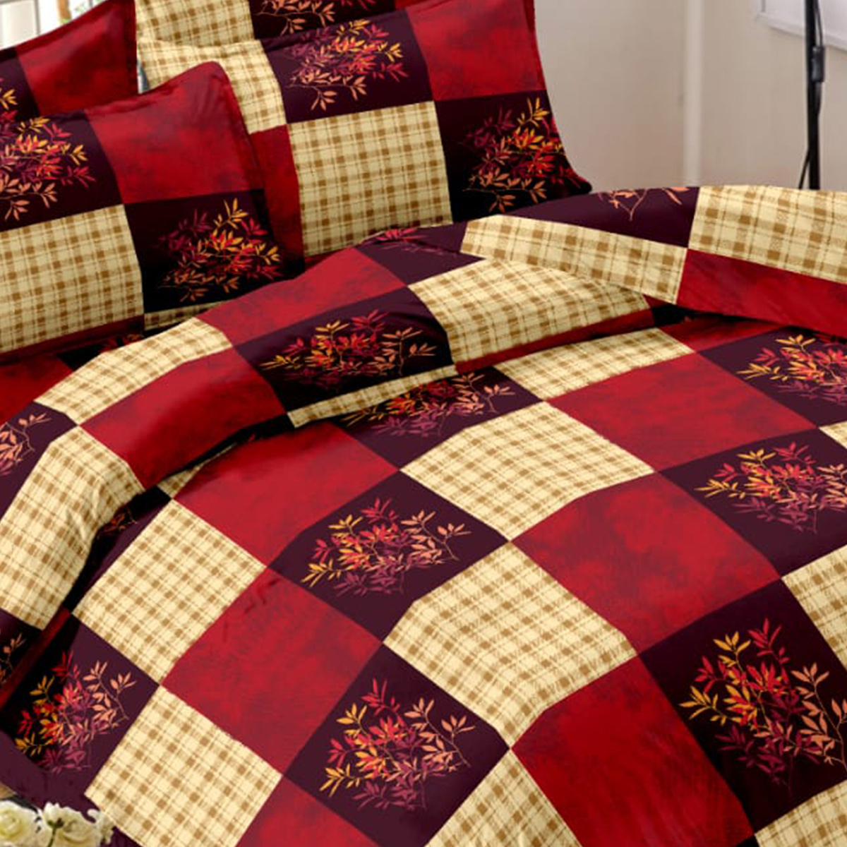 Exceptional Maroon-Cream Colored Floral Printed Cotton Double Bedsheet With Pillow Cover