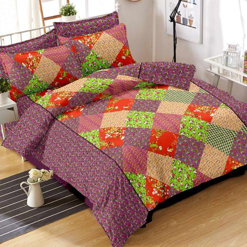 Gleaming Pink-Multi Colored Geometric Printed Cotton Double Bedsheet With Pillow Cover