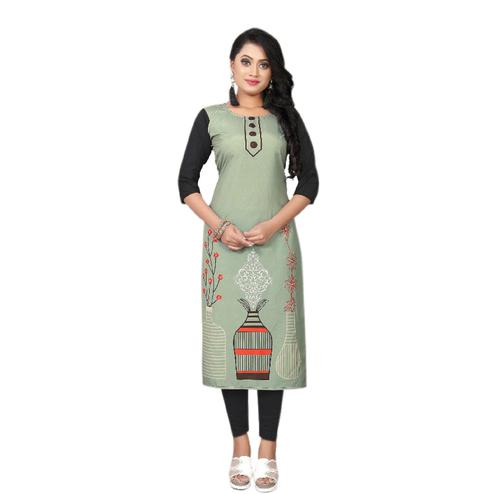 Attractive Olive Green Colored Casual Wear Floral Digital Printed Calf-Length Straight Crepe Kurti