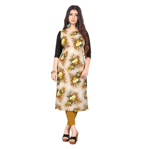 Blooming Beige Colored Casual Wear Floral Digital Printed Calf-Length Straight Crepe Kurti