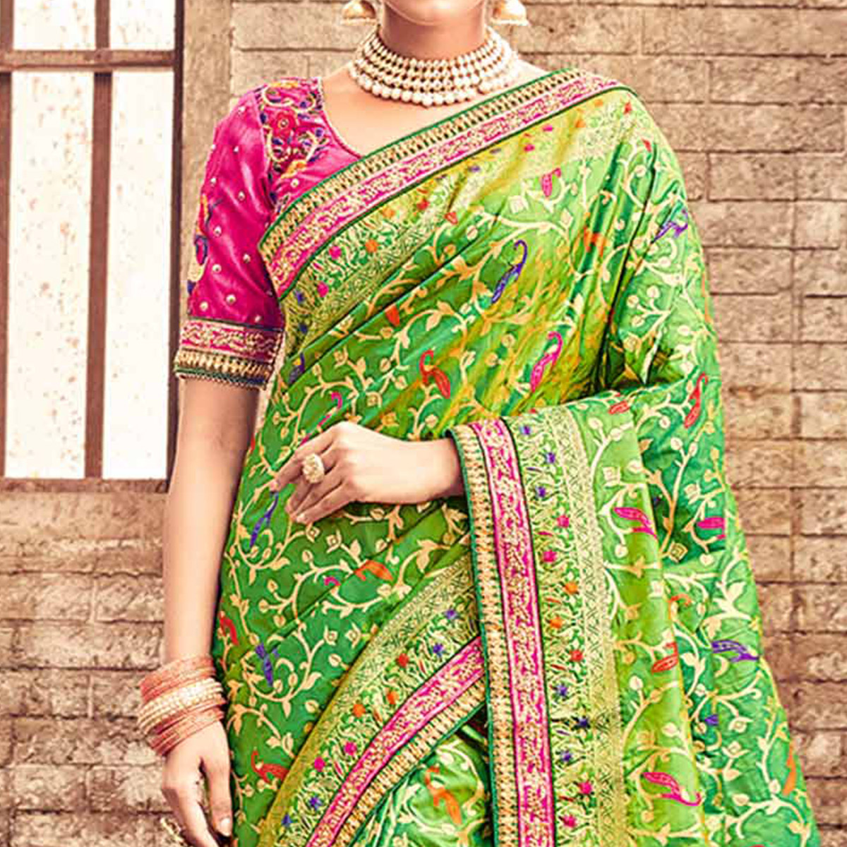 Regal Green Pure Banarsi Silk Designer Embroidered Saree