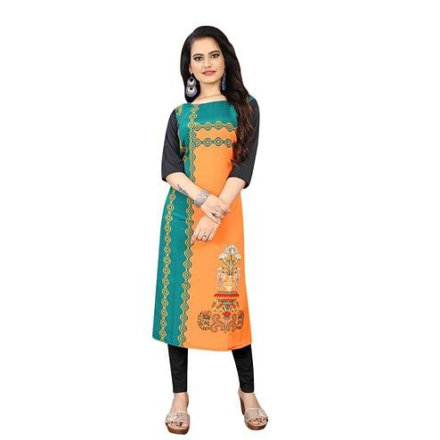 Blissful Orange Colored Casual Wear Floral Digital Printed Calf-Length Straight Crepe Kurti