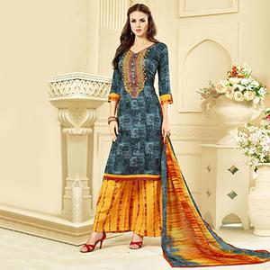 Shaded Grey Casual Wear Printed Suit