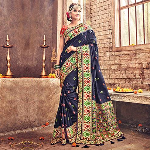 Spectacular Navy Blue Pure Banarsi Silk Designer Embroidered Saree