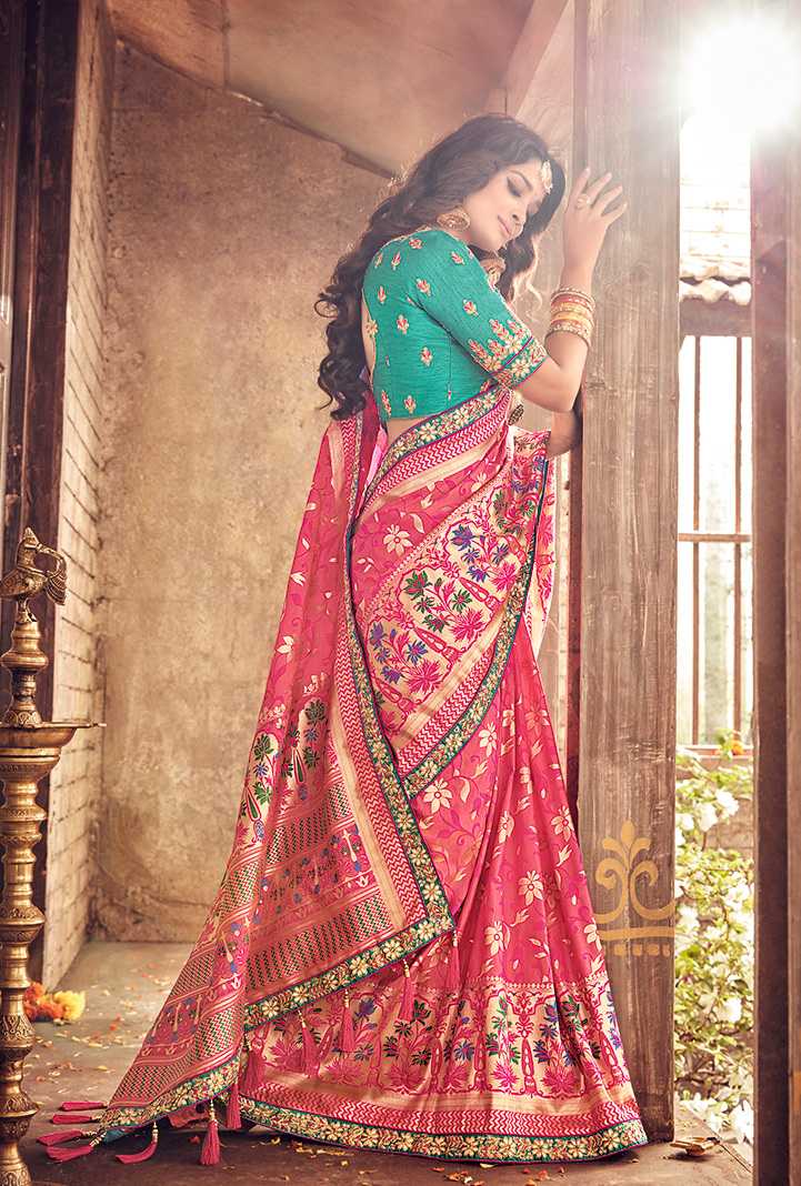 Glorious Pink Pure Banarsi Silk Designer Embroidered Saree