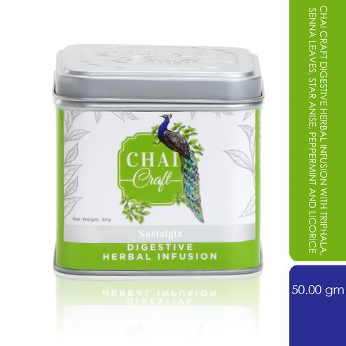 Chai Craft - Digestive Herbal Infusion with Triphala, Senna Leaves, Star Anise, Peppermint and Licorice, 50 Grams Tin Caddy