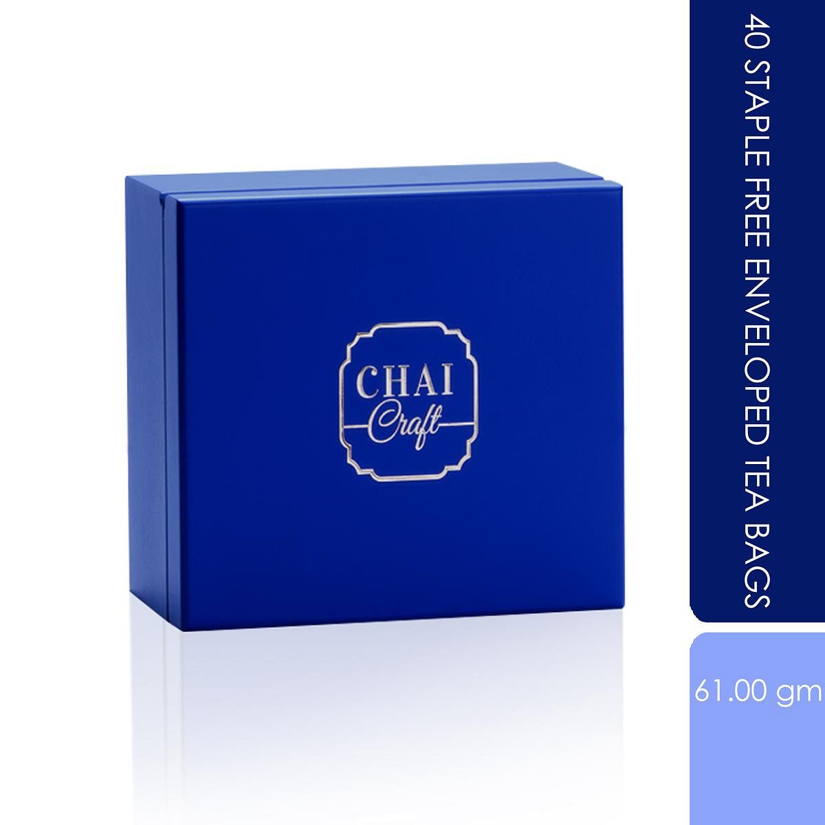 Chai Craft - 40 Staple Free Enveloped Tea Bags in a Wooden Box
