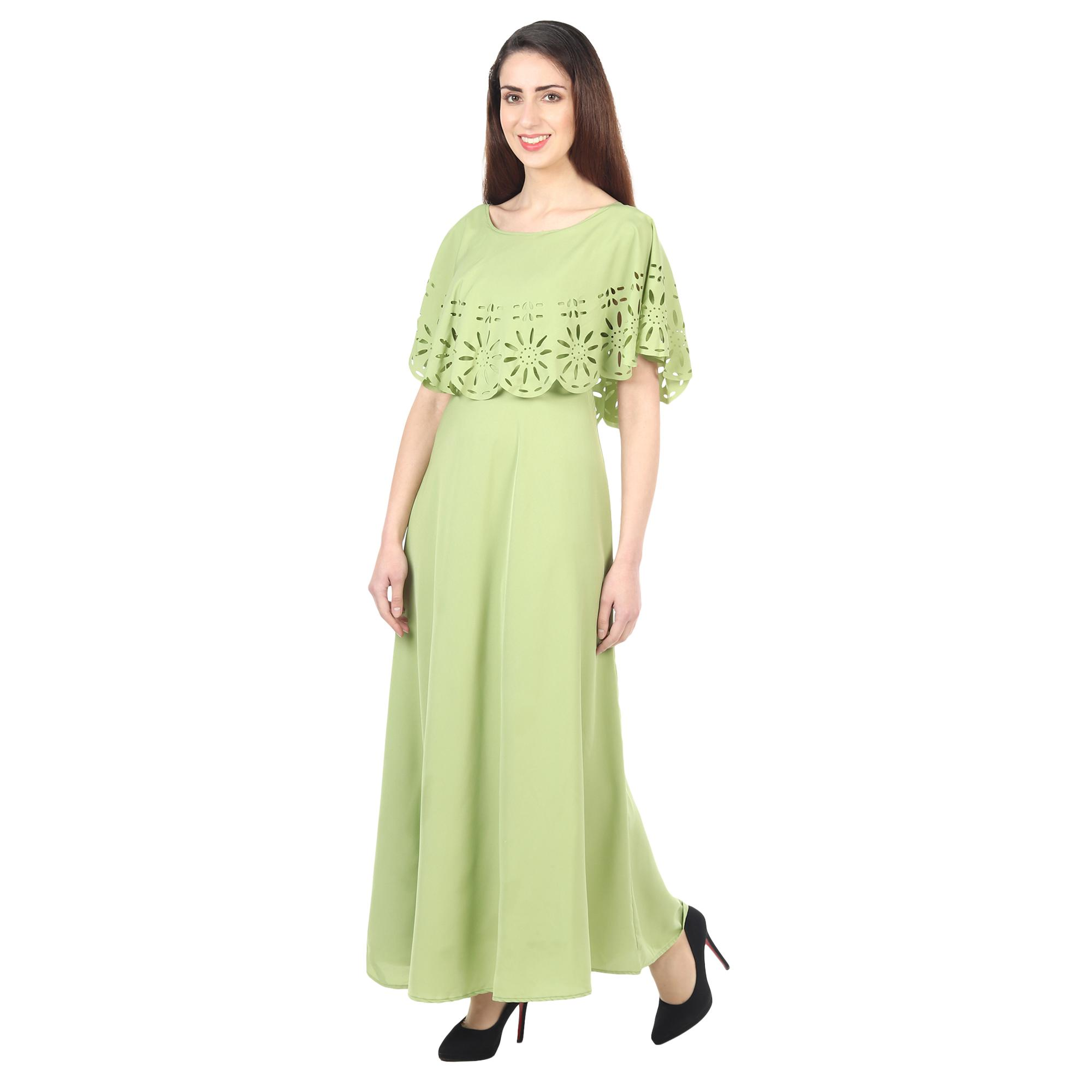 OMADAM - Light Green Colored Casual Wear Floral Crepe Cape Gown