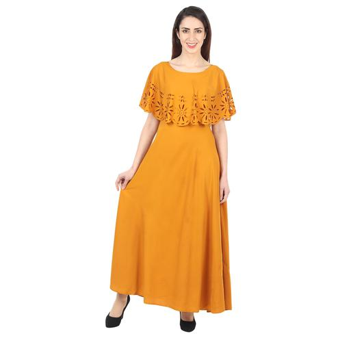 OMADAM - Mustard Yellow Colored Casual Wear Floral Crepe Cape Gown