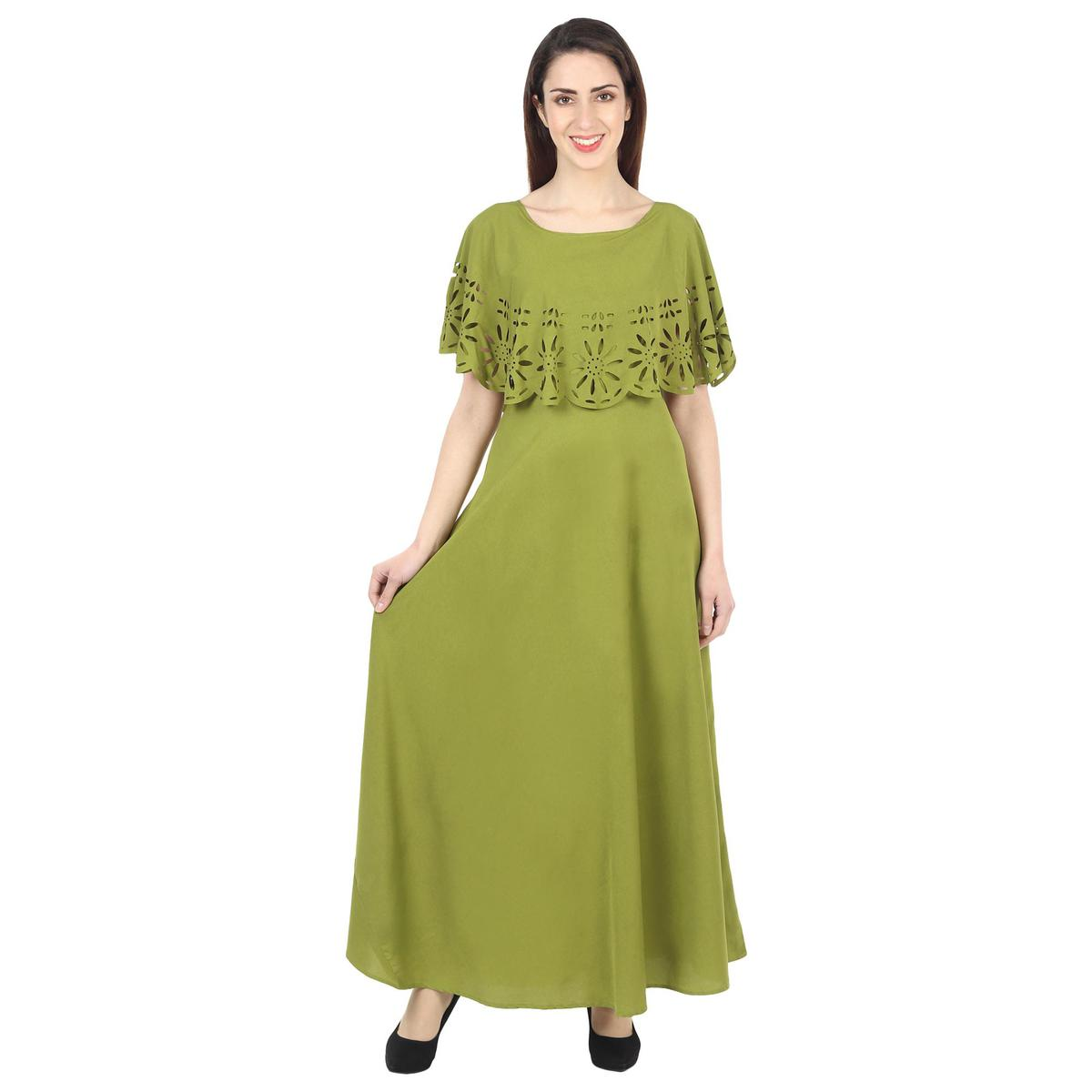 OMADAM - Olive Green Colored Casual Wear Floral Crepe Cape Gown