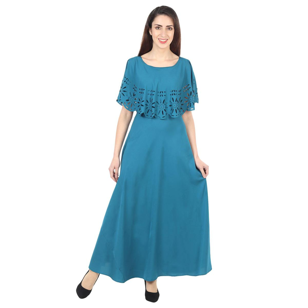 OMADAM - Teal Blue Colored Casual Wear Floral Crepe Cape Gown