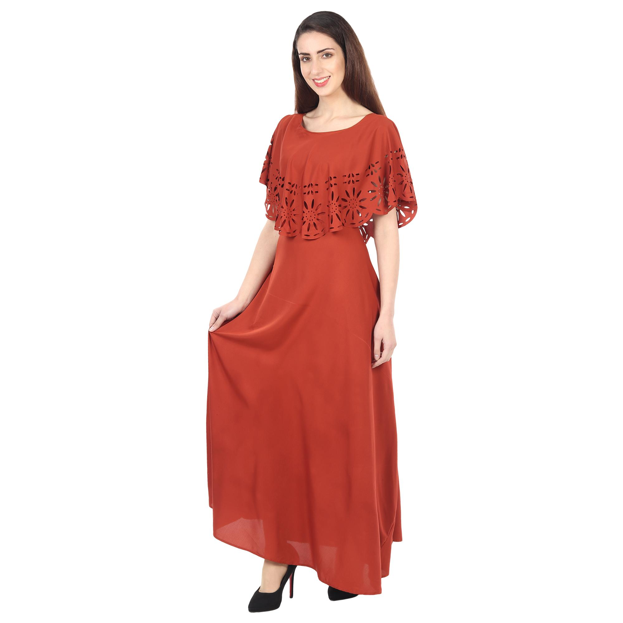 OMADAM - Maroon Colored Casual Wear Floral Crepe Cape Gown