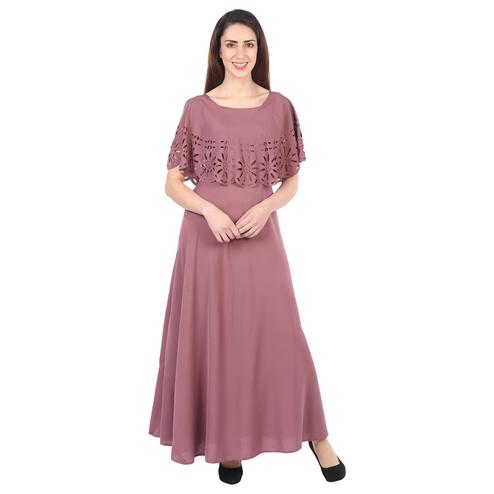 OMADAM - Mauve Colored Casual Wear Floral Crepe Cape Gown