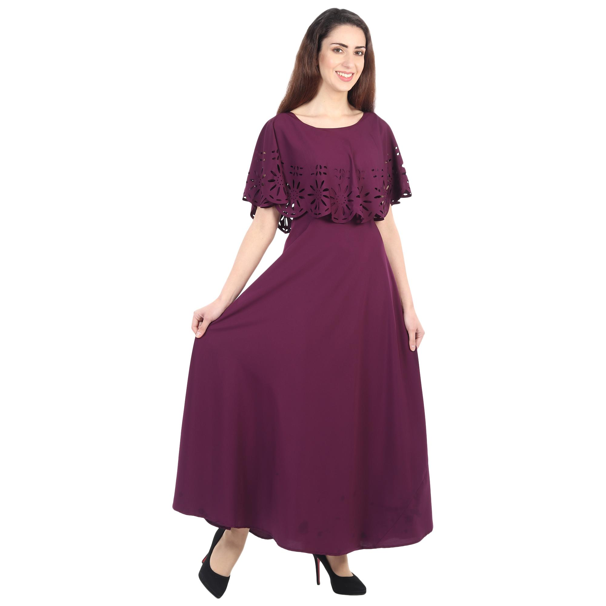 OMADAM - Purple Colored Casual Wear Floral Crepe Cape Gown