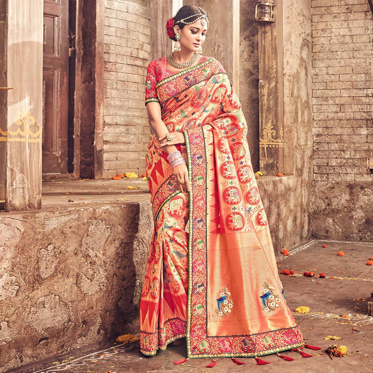 Classy Peach Pure Banarsi Silk Designer Embroidered Saree