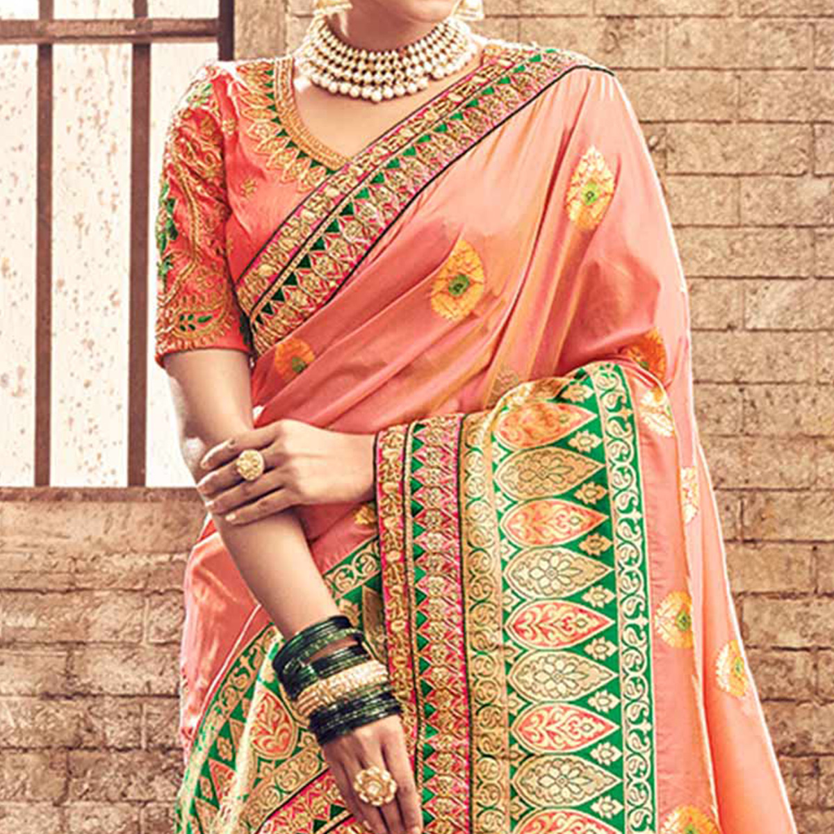 Beautiful Peach Pure Banarsi Silk Designer Embroidered Saree
