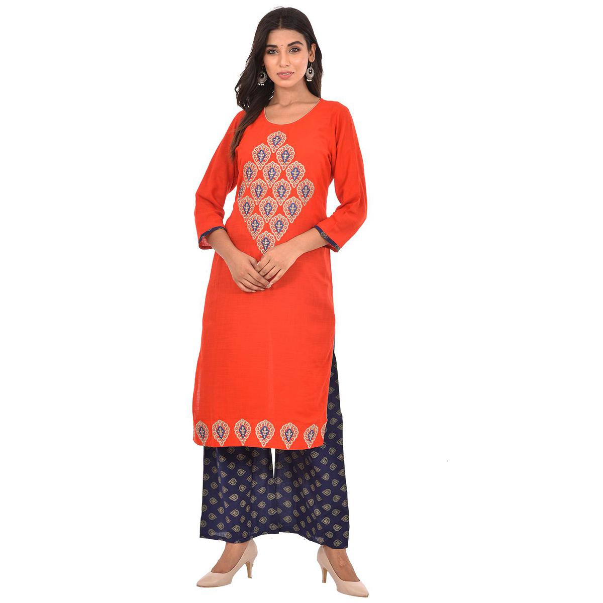 LUSSURO - Red Colored Casual Wear Embroidered Cotton Kurti Palazzo Set
