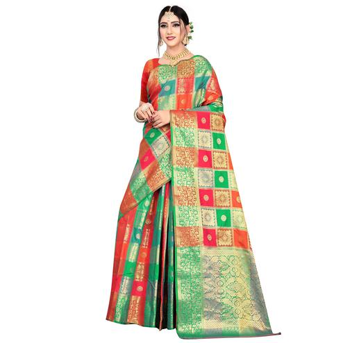 Trendy Red-Multicolored Festive Wear Woven Silk Saree