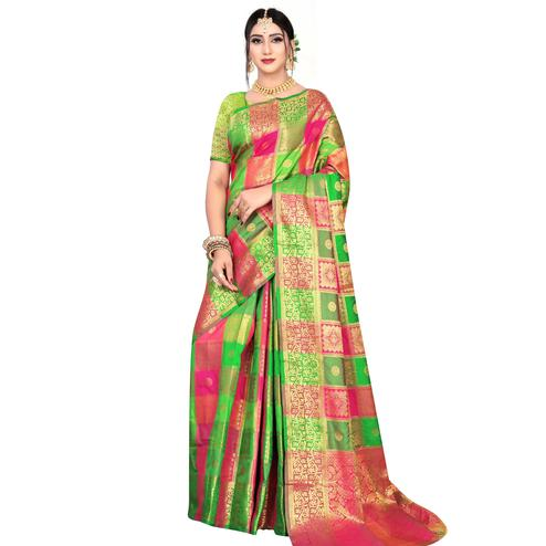 Elegant Green-Multicolored Festive Wear Woven Silk Saree