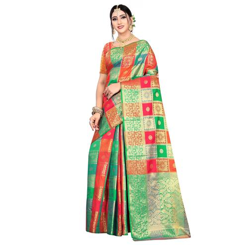 Radiant Red-Multicolored Festive Wear Woven Silk Saree