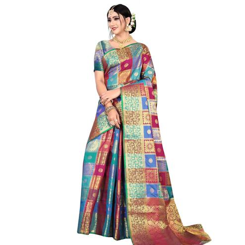 Pleasant Blue-Multicolored Festive Wear Woven Silk Saree