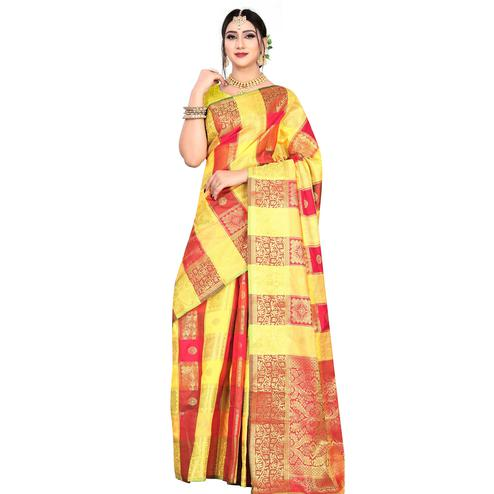 Opulent Yellow-Red Colored Festive Wear Woven Silk Saree