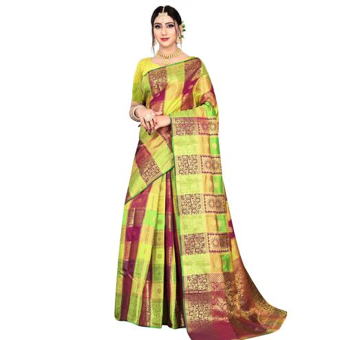 Energetic Green-Purple Colored Festive Wear Woven Silk Saree