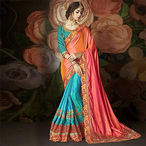 Stunning Pink And Blue Designer Embroidered Half N Half Saree