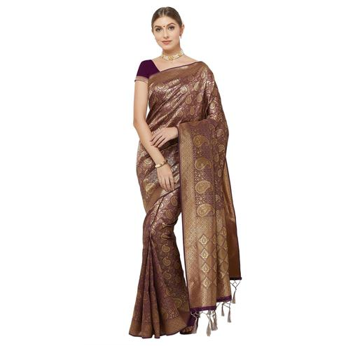 Prominent Dark  Purple Colored Festive Wear Woven Art Silk Saree