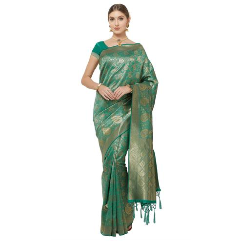 Appealing Teal Blue Colored Festive Wear Woven Art Silk Saree