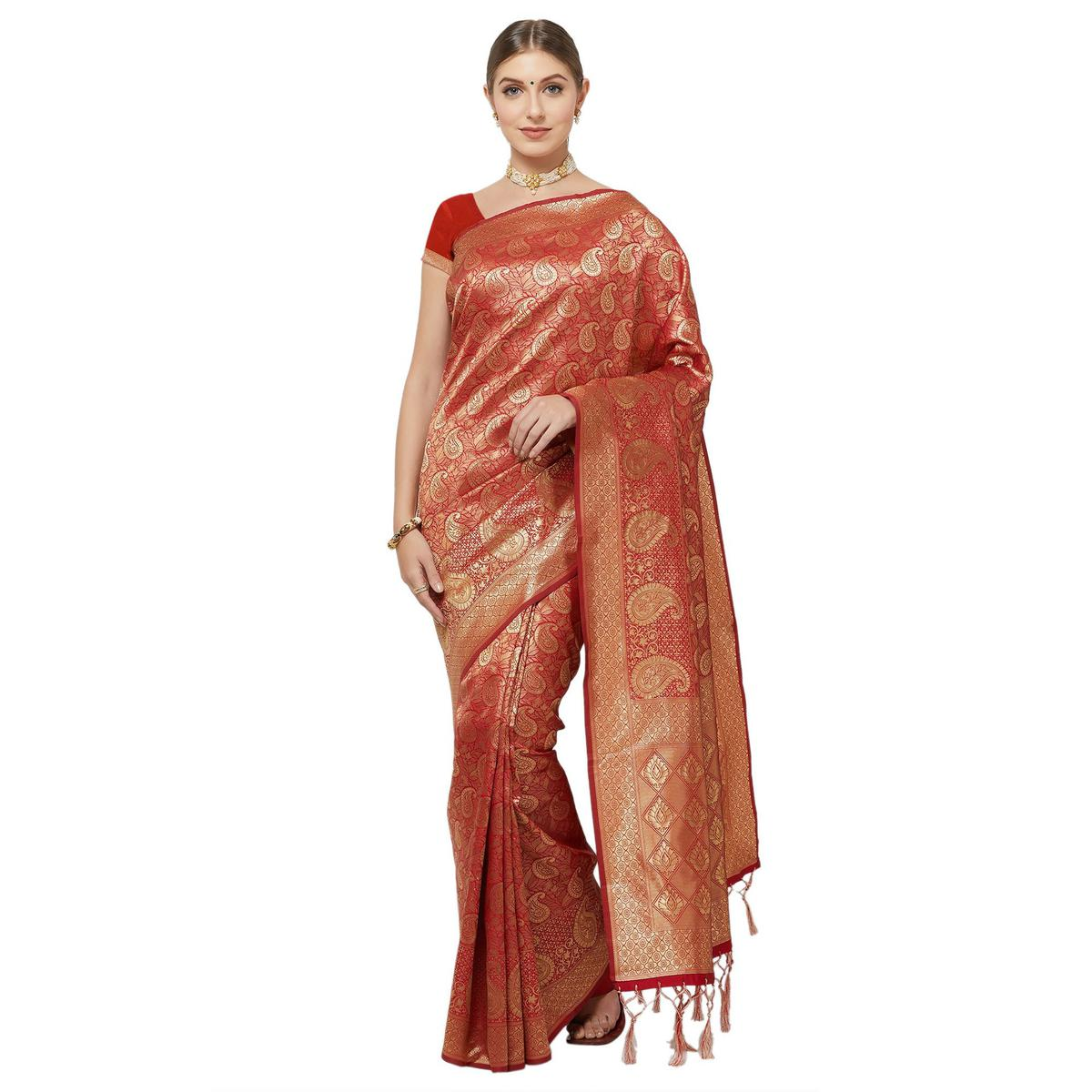 Entrancing Red Colored Festive Wear Woven Art Silk Saree