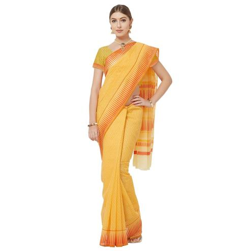 Groovy Orange Colored Casual Printed Cotton Blend Saree