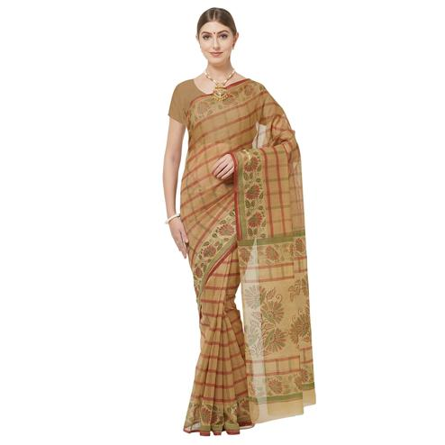 Adorning Beige-Brown Colored Casual Printed Cotton Blend Saree