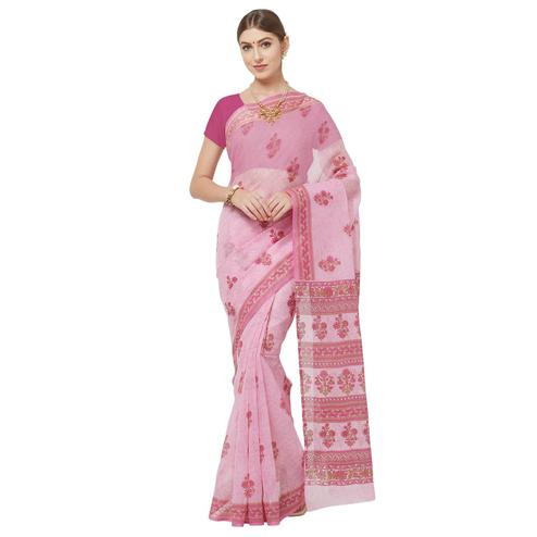 Exclusive Light Pink Colored Casual Printed Cotton Blend Saree
