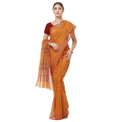 Intricate Mustard Yellow Colored Casual Printed Cotton Blend Saree