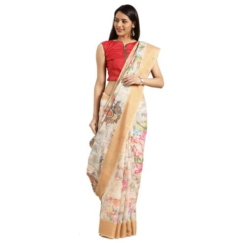 Arresting Beige-Multi Colored Casual Digital Printed Linen Saree