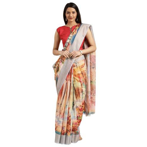 Desirable Multi Colored Casual Digital Printed Linen Saree
