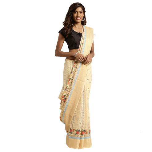 Sophisticated Cream-Brown Colored Casual Digital Printed Linen Saree