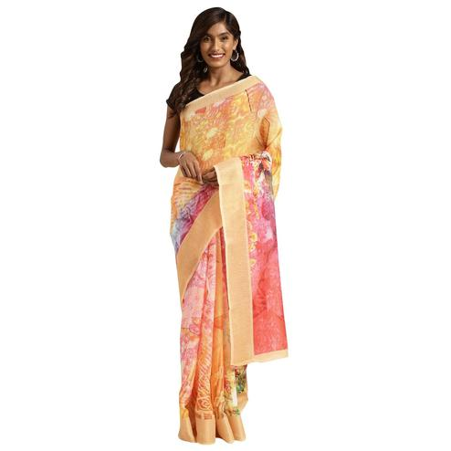 Trendy Pink Colored Casual Digital Printed Linen Saree