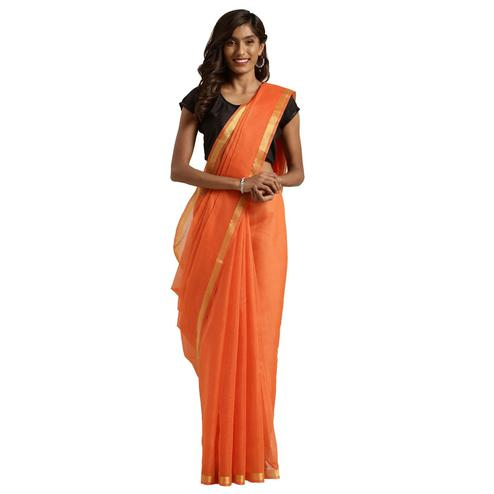 Elegant Orange Colored Festive Wear Woven Poly Cotton Saree