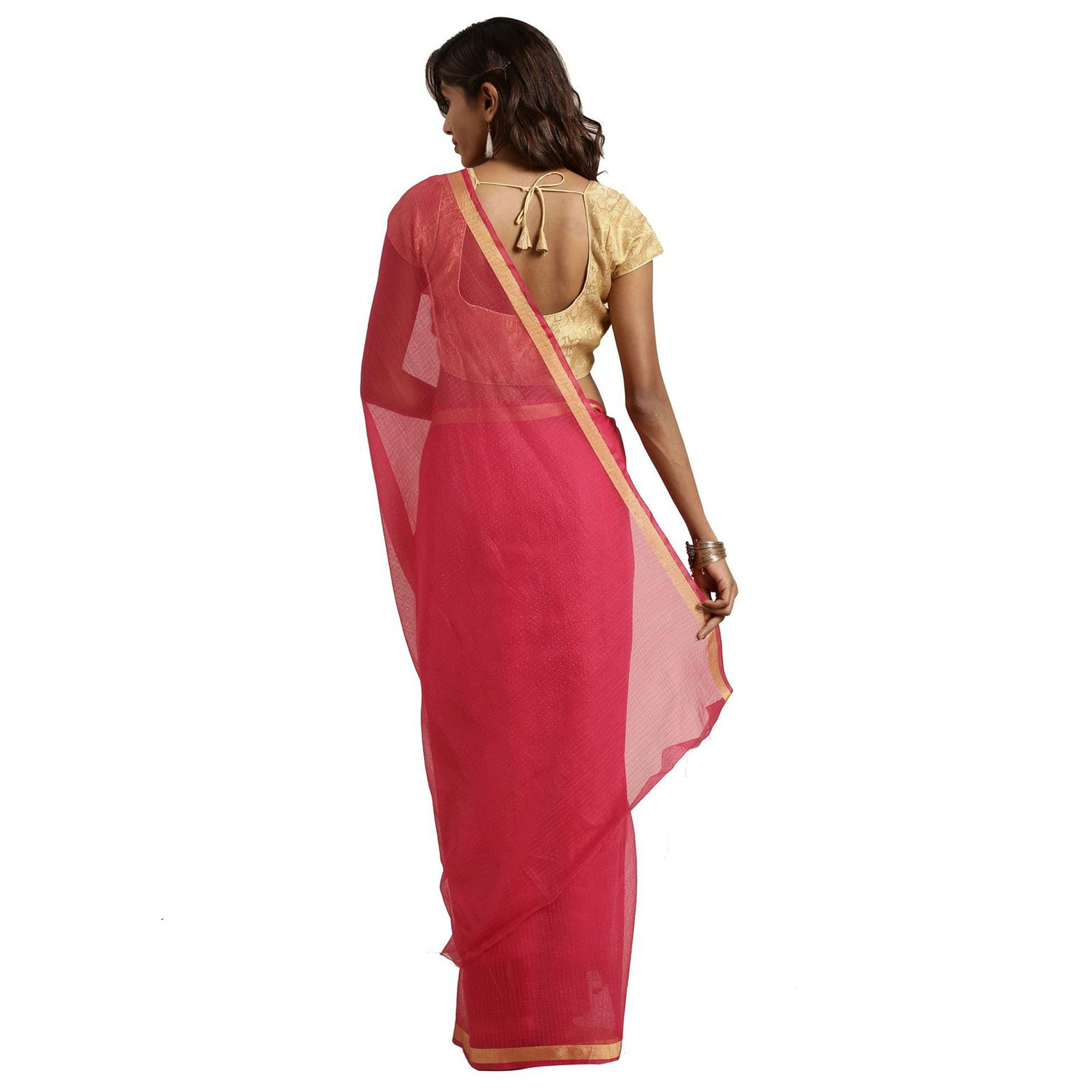 Radiant Dark Pink Colored Festive Wear Woven Poly Cotton Saree