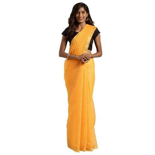Pleasant Yellow Colored Festive Wear Woven Poly Cotton Saree