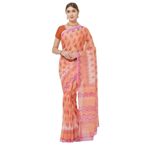 Opulent Pink-Orange Colored Casual Printed Cotton Blend Saree