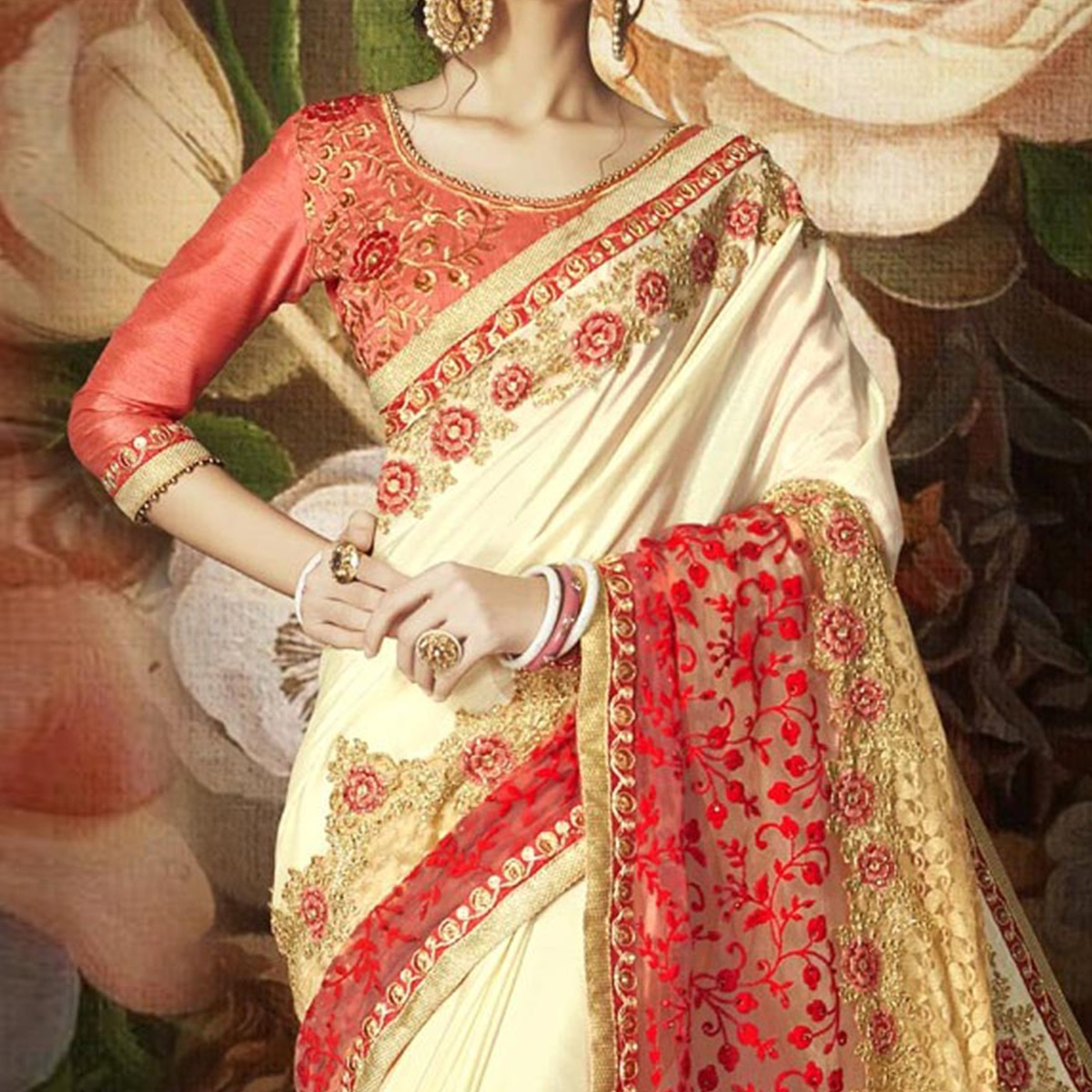 Gorgeous Cream Designer Floral Embroidered Saree