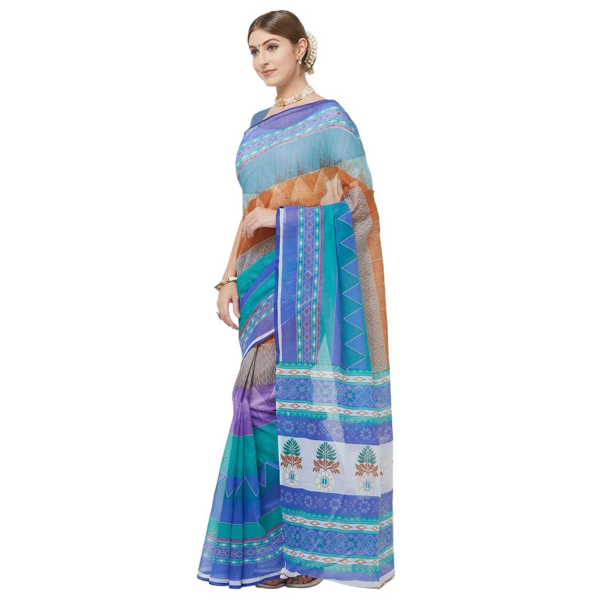 Glowing Multi Colored Casual Printed Cotton Blend Saree