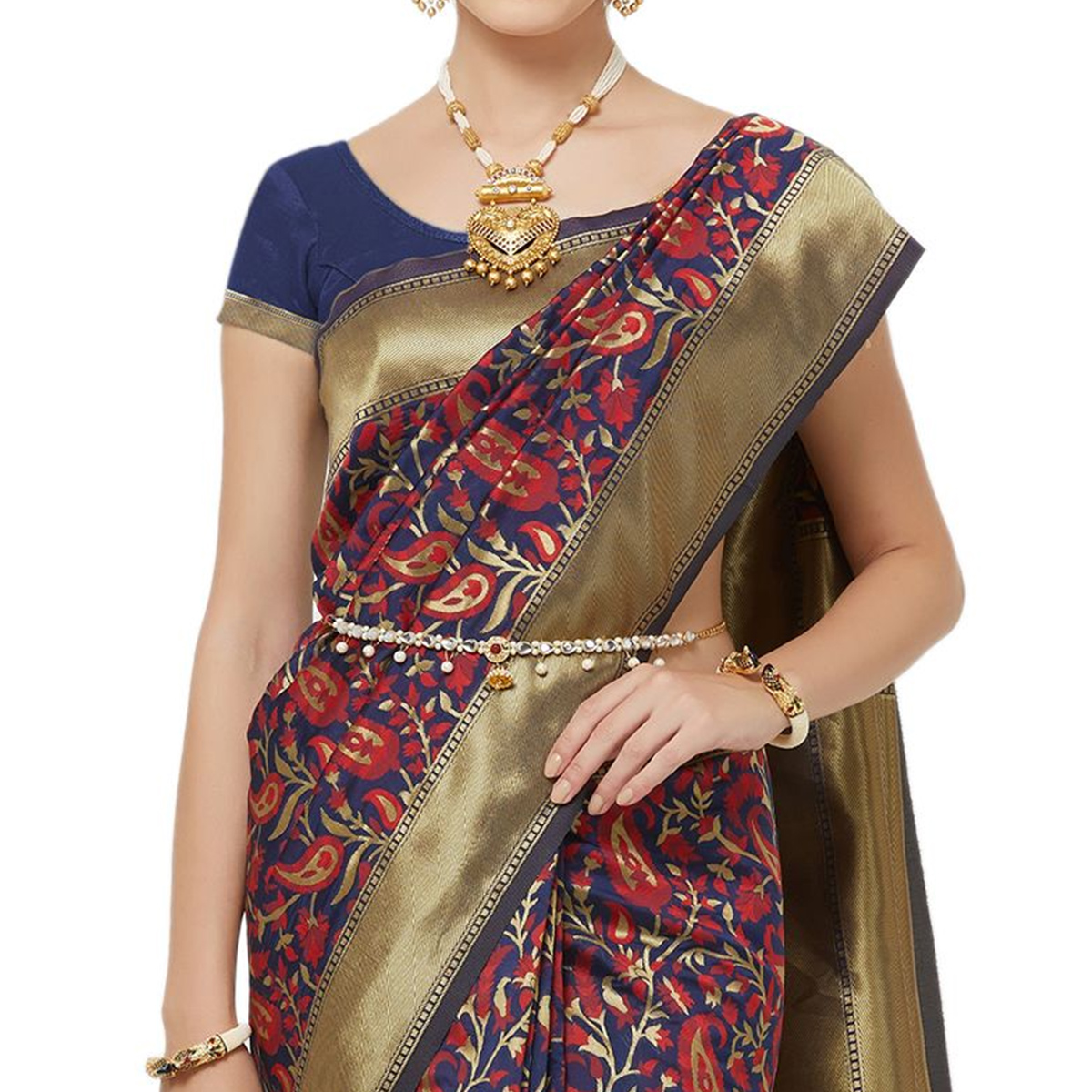 Gleaming Navy Blue-Red Colored Festive Wear Woven Art Silk Saree