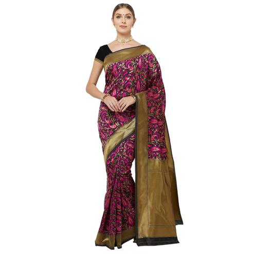 Mesmeric Black Colored Festive Wear Woven Art Silk Saree
