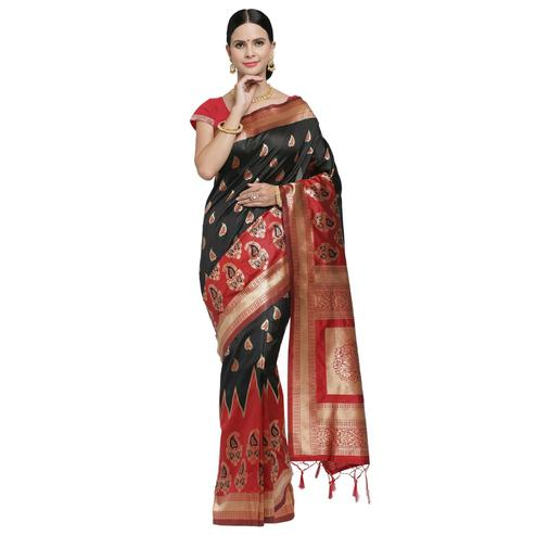 Demanding Black-Red Colored Festive Wear Woven Banarasi Art Silk Saree