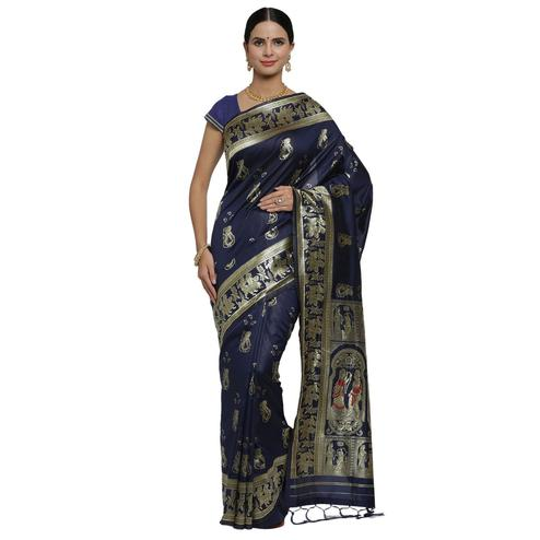 Refreshing Navy Blue Colored Festive Wear Woven Banarasi Art Silk Saree